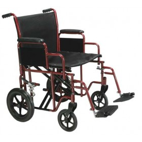 "Transport Wheelchair Bariatric Heavy Duty 20"" or 22"" Wide - 450 lbs"