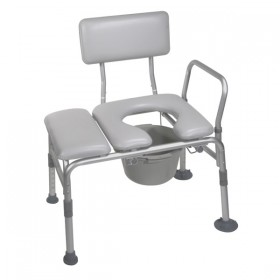 Padded Seat Transfer Bench with Commode Chair Opening