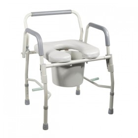 Commode Chair with Comfortable Padded Seat & Elevated Armrests