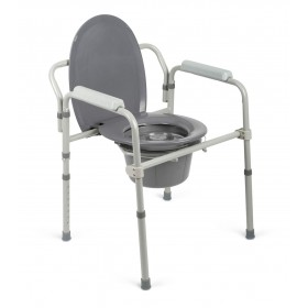 Elongated Commode Chair Folding Steel Frame and Compact