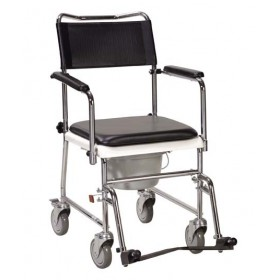 Bedside Commode Chair - Portable & Upholstered with Wheels and Drop Armrests - Non-Assembled