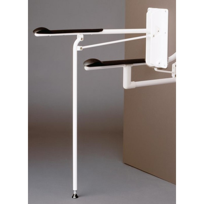 Optima 1 - Wall Mounted Flip Down Toilet Grab Bar with Support Leg