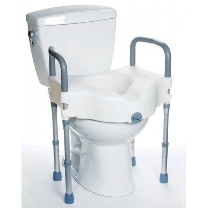 Raised Toilet Seat And Toilet Safety Rail 2 In 1