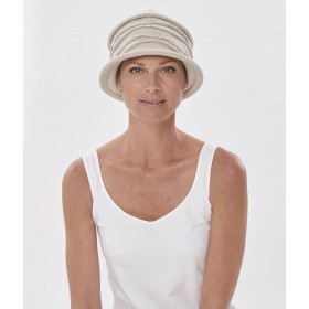 Rustic Wave Cloche Cotton Hat for Cancer Chemotherapy