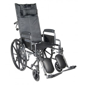 Reclining Wheelchair Silver Sport with Detachable Desk Length Arms and Elevating Leg rest