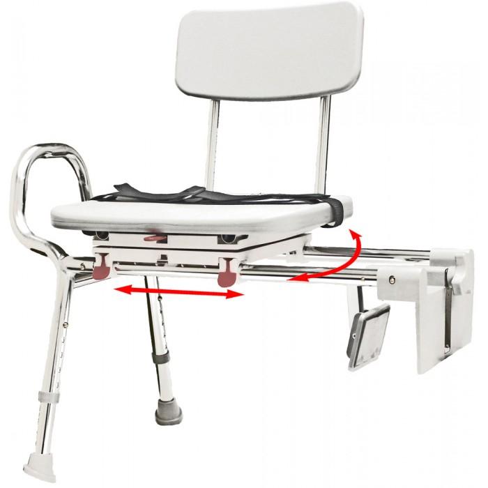 Space Saving Sliding Bath Transfer Bench Swivel Seat Tub Mount