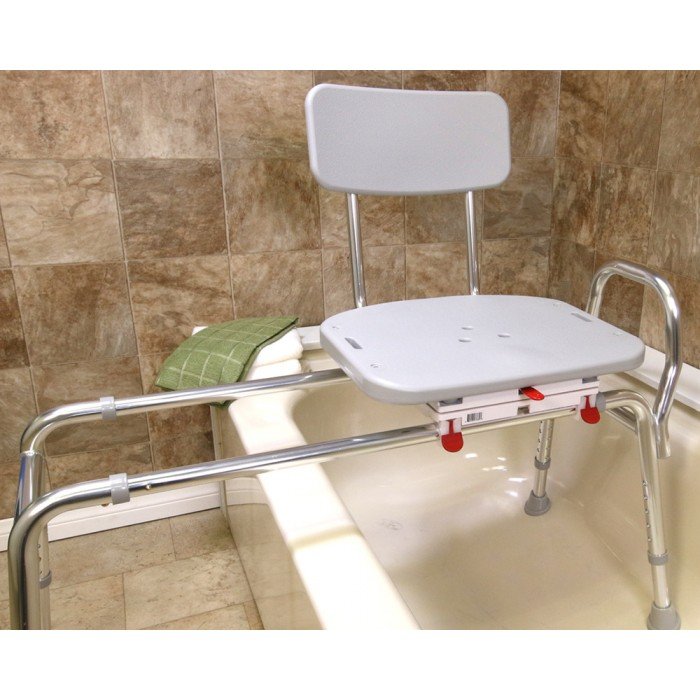 Sliding Tub Transfer Bench With Swivel Seat And Bath Chair