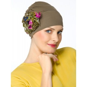 Super Elegant Kaki Hats for Chemo Patients Silk Flower