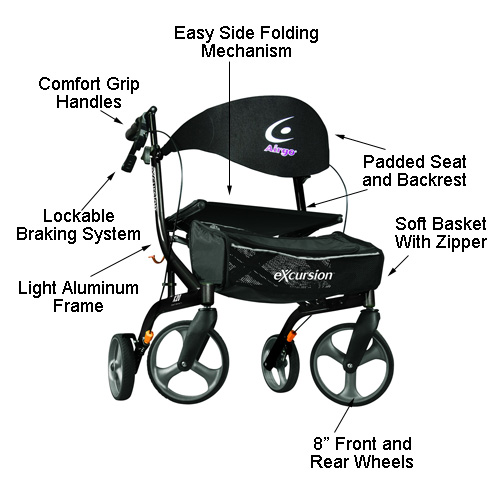Airgo Excursion X20 Rollator Features